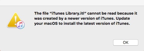 itunes library.itl cannot be read because it was created by a newer version of iTunes